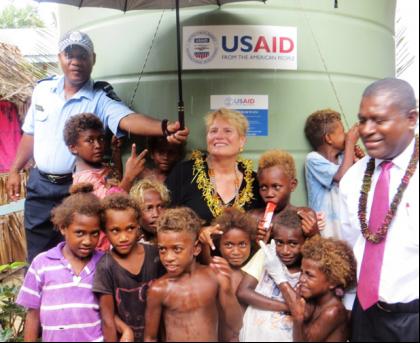 US Ambassador Catherine Ebert Gray celebrated the newly launched Climate Changer Adaptation Project in Lilisiana, Malaita Province. Photo credit: USP.