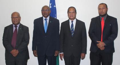 L-R Acting Permanent Secretary Mr Joseph Ma'ahanua, Hon. Milner Tozaka, H.E Robert Sisilo and Deputy Secretary Mr William Soaki. Photo credit: Foreign Affairs.