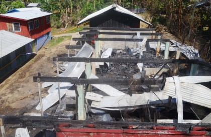The Naha School building which was burned to ashes last year. Photo credit: SIBC.