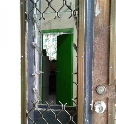 Where the BSP Auki branch door was cut open by the robbers. Photo credit: Andie Shiar's Facebook page.