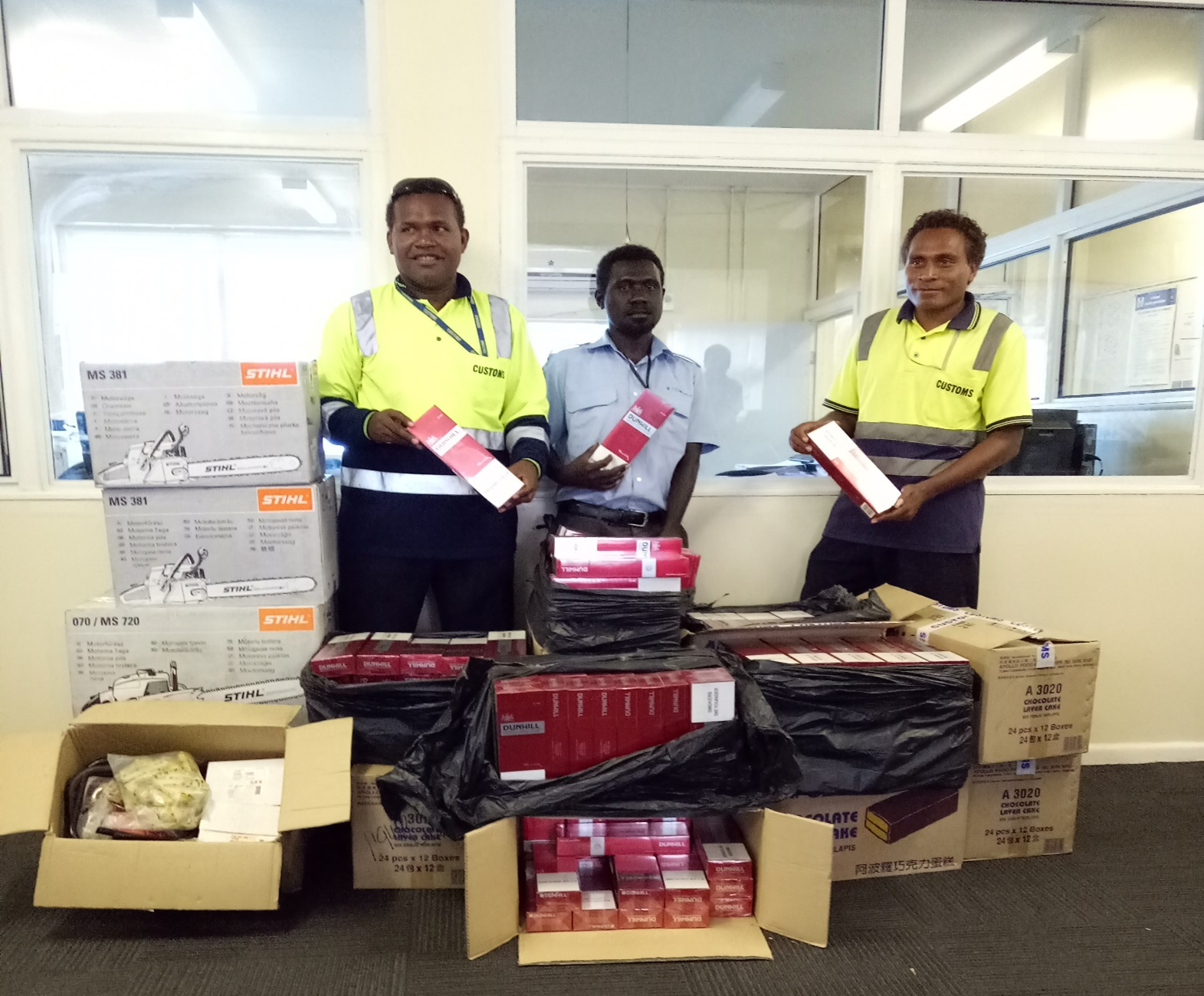 CUSTOMS CONFISCATE SMUGGLED GOODS