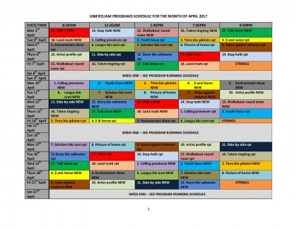 SIBC's April schedule