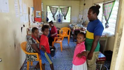 Emmy Koipui working inside the Panueli Health Centre on Savo Island.