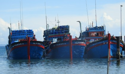 The three 'blue boats' in question