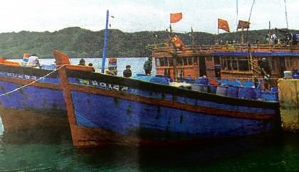 The seized blue boats.