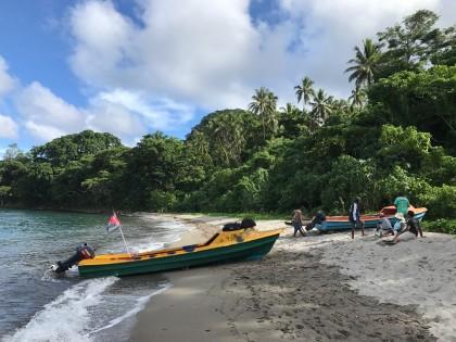 The SIBC team preparing on the beach before climbing Savo's volcano