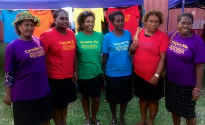 Tenants and workers from the YMCA at today's women's march in Honiara