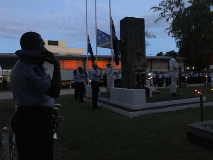 Paying respects for ANZAC Day in Honiara this morning