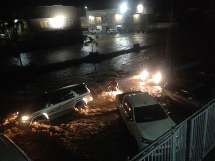 Some of the flooding in the capital on Sunday night.