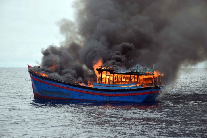 Last blue boat burns at Iron Bottom Sound